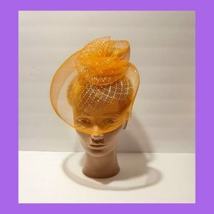 Orange Iridescent Net Hat Fascinator Retro Pin-up